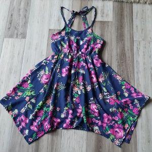 Scooter Brown Floral Halter Dress